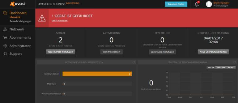 Kostenloser Virenschutz für Windows-Server von Avast