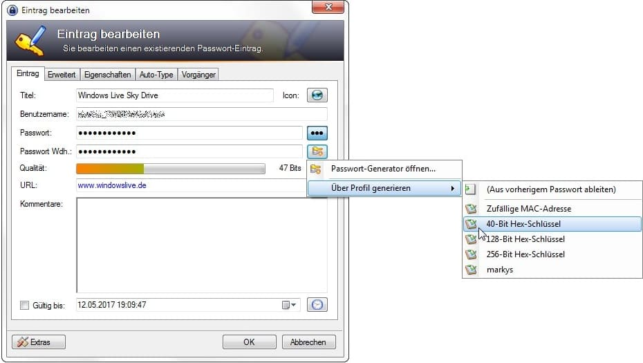 KeePass generiert automatisch hochsichere Passwörter