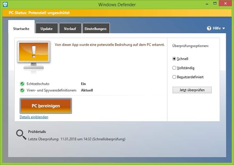 Boot-Stick mit Windows Defender Windows 8