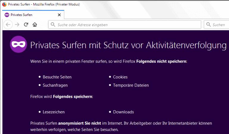 Surfen ohne Verfolger mit anonymem Browser-Fenster