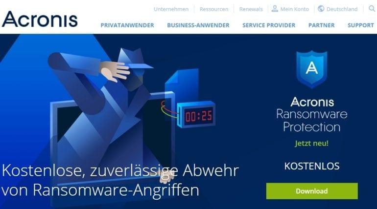 Gratis Acronis-Tool gegen Erpresser-Software