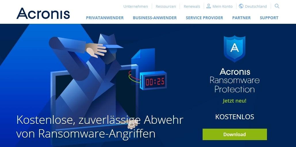 Acronis Ransomware Tool gratis nutzen von der Webseite laden